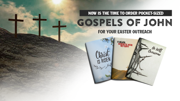 Easter is April 21st! Get prepared to share Christ by ordering pocket-sized Gospels today.